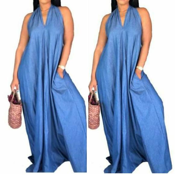 76b4b60f3b2 Light Blue Maxi Dress Plus Size